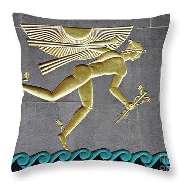 Throw Pillow featuring the photograph Winged Mercury by Sarah Loft