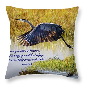 Wings Of Refuge With Scripture Throw Pillow