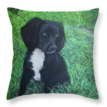 Throw Pillow featuring the painting Winnie by Tom Roderick