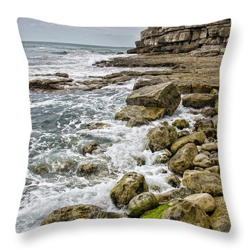 Winspit Cove In Dorset Throw Pillow