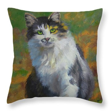 Winston Cat Portrait Throw Pillow