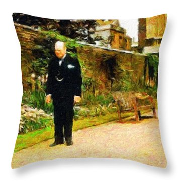 Winston Churchill, 1943 Throw Pillow by Vincent Monozlay