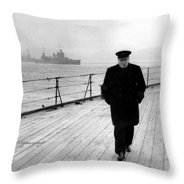 Winston Churchill At Sea Throw Pillow