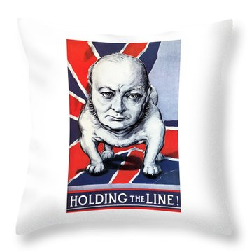 Winston Churchill Holding The Line Throw Pillow by War Is Hell Store