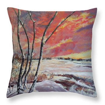 Winter Across The Lake  Throw Pillow