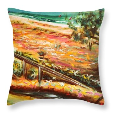 Winter Afternoon Surfers Throw Pillow
