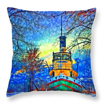 Winter And The Tug Boat 2 Throw Pillow by Tara Turner