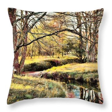 Throw Pillow featuring the painting Winter Artistry Ap by Dan Carmichael