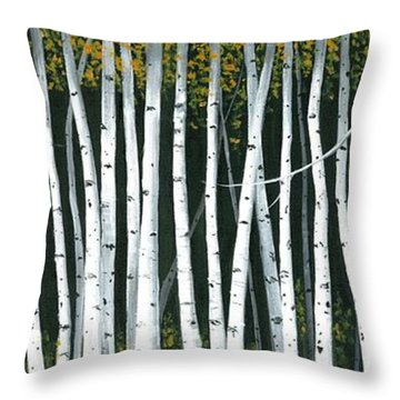Throw Pillow featuring the painting Winter Aspen 3 by Michael Swanson