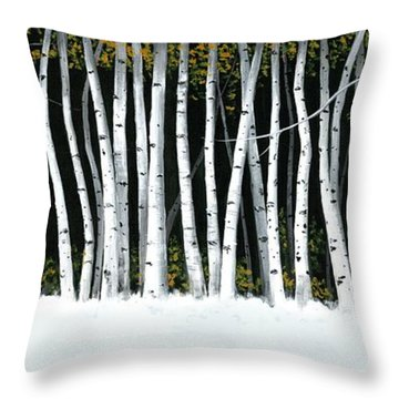Throw Pillow featuring the painting Winter Aspens II by Michael Swanson