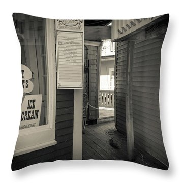 Winter At Aunt Marie's Ice Cream Stand Throw Pillow