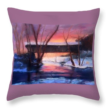 Winter At Bennett's Mill Throw Pillow