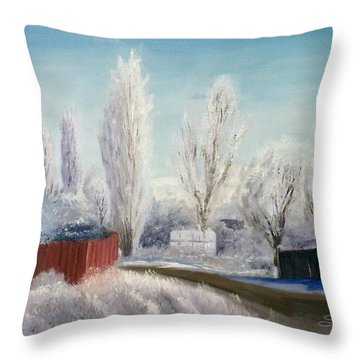 Winter At Bonanza Throw Pillow by Sherril Porter