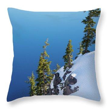 Winter At Crater Lake Throw Pillow