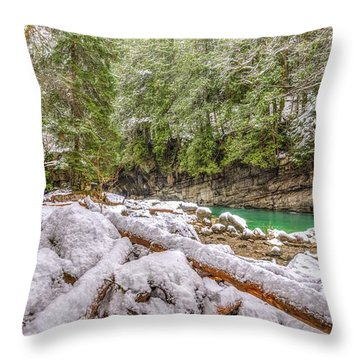 Winter At Eagle Falls Throw Pillow by Spencer McDonald