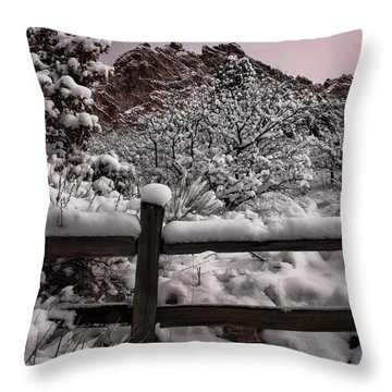 Throw Pillow featuring the photograph Winter At Garden Of The Gods by Ellen Heaverlo