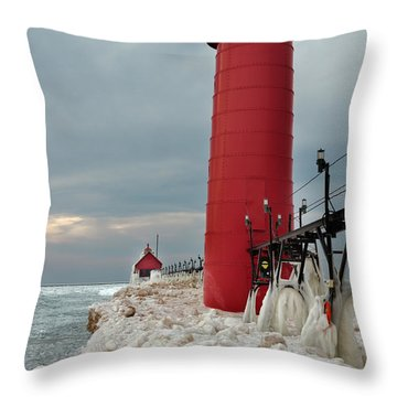 Winter At Grand Haven Lighthouse Throw Pillow