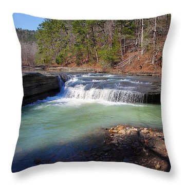 Winter At Haw Creek Falls Throw Pillow