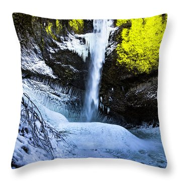 Winter At Latourell Falls Throw Pillow