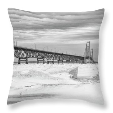 Throw Pillow featuring the photograph Winter At Mackinac Bridge by John McGraw