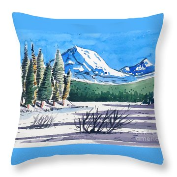 Throw Pillow featuring the painting Winter At Mt. Lassen by Terry Banderas