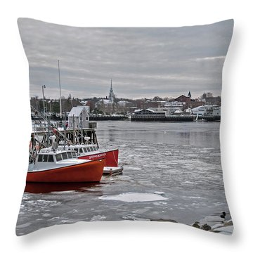 Winter At Newburyport Harbor Throw Pillow