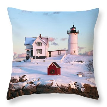 Winter At Nubble Throw Pillow
