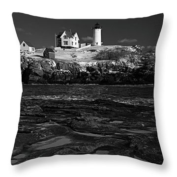 Winter At Nubble Lighthouse Bw Throw Pillow