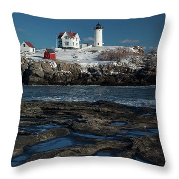Winter At Nubble Lighthouse Throw Pillow
