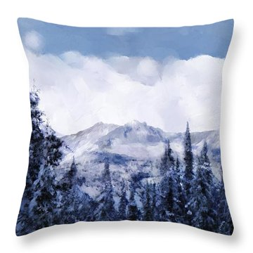 Winter At Revelstoke Throw Pillow