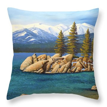 Winter At Sand Harbor Lake Tahoe Throw Pillow