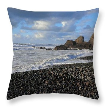 Winter At Sandymouth Throw Pillow