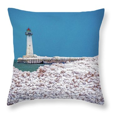 Winter At Sodus Point  Throw Pillow