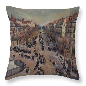 Winter At The Boulevard De La Madeleine, Paris Throw Pillow