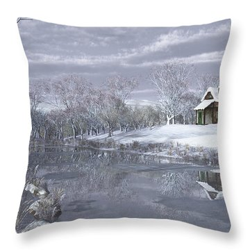 Throw Pillow featuring the digital art Winter At The Lake by Jayne Wilson
