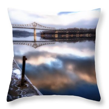 Winter At The Levee Throw Pillow