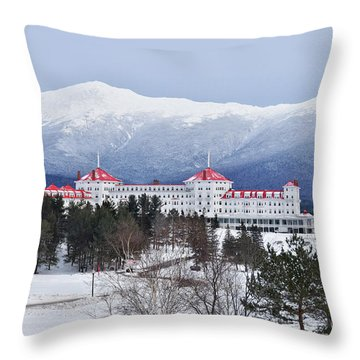 Winter At The Mt Washington Hotel Throw Pillow
