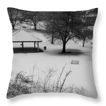 Winter At The Park Throw Pillow by Idaho Scenic Images Linda Lantzy