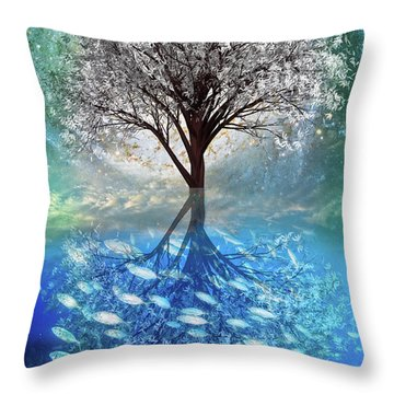 Throw Pillow featuring the digital art Winter At The Reef by Debra and Dave Vanderlaan