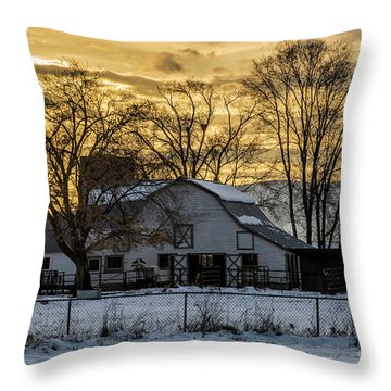 Winter Barn At Sunset - Provo - Utah Throw Pillow by Gary Whitton
