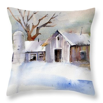 Winter Barn Throw Pillow