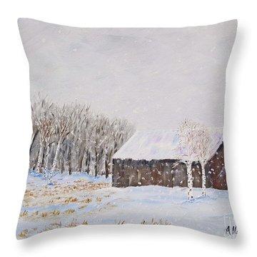 Winter Barn Throw Pillow