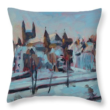 Winter Basilica Our Lady Maastricht Throw Pillow