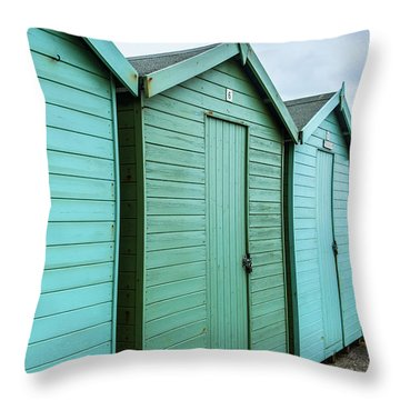 Winter Beach Huts IIi Throw Pillow
