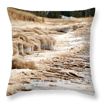 Throw Pillow featuring the photograph Winter Beach by SimplyCMB