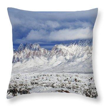 Throw Pillow featuring the photograph Winter Beauties Organ Mountains by Kurt Van Wagner