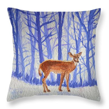Throw Pillow featuring the painting Winter Begins by Li Newton
