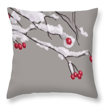 Winter Berries And Branches Covered In Snow Throw Pillow