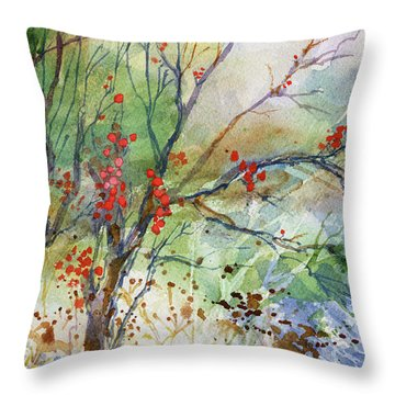 Winter Berries Throw Pillow