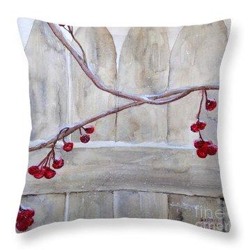 Winter Berries Watercolor Throw Pillow